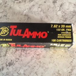 TulAmmo 100 cartridges 7.62x39mm